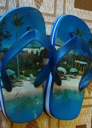 Шлепки вьетнамки детские голубые размер 29 стелька 19,5 см.