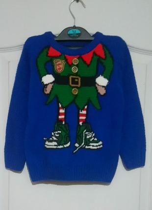 Новогодний свитер с эльфом chief elf santas crew