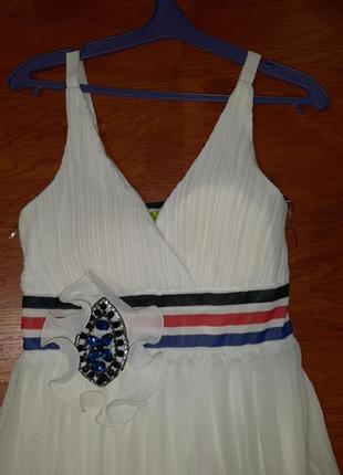 Нарядное платье в пол белое в полоску