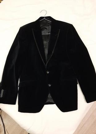 Бархатный, велюровый классический пиджак жакет