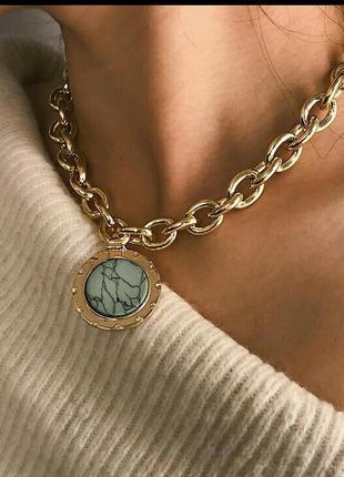 Изысканное колье чокер ожерелье крупные цепи c подвеской