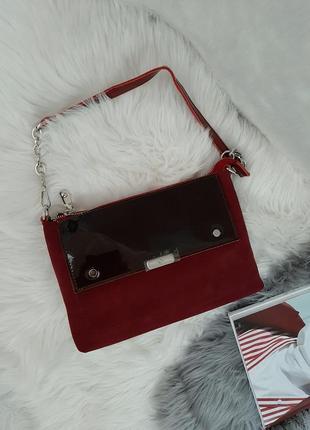 Натуральная замша кожа сумка через плечо замшевая бордовая сумочка клатч кроссбоди