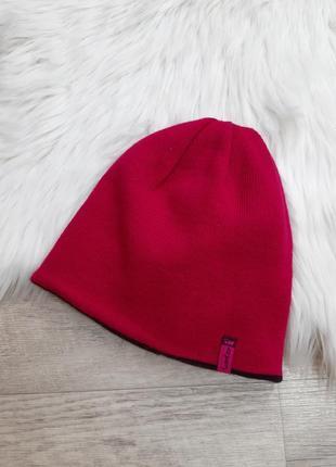 Двусторонняя шапка малиновая/бордовая