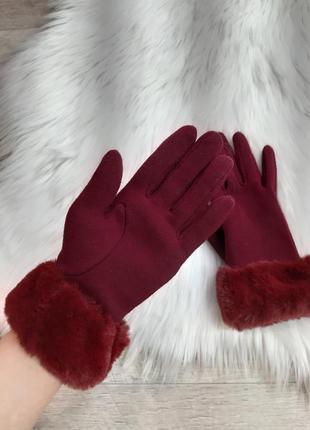Бордовые перчатки primark