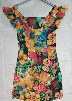 Яркое летнее платье на каждый день, платье мини, платье в цветочек