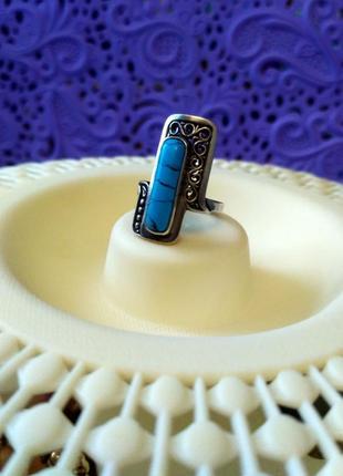 Винтажное серебряное кольцо с бирюзой 17р.