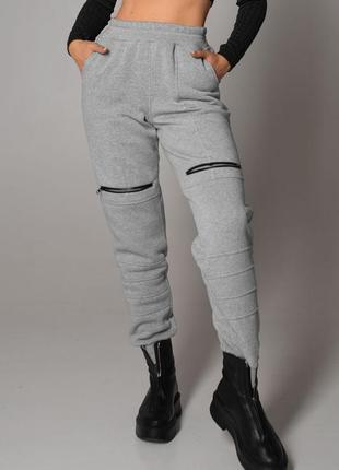 Женские теплые серые спортивные штаны с флисом (4098 msmd)