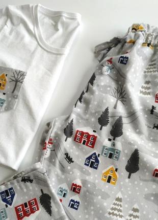 Женская новогодняя пижама со штанами из фланели3 фото