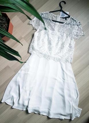 Новое свадебное белое шифоновое кружевное нарядное платье