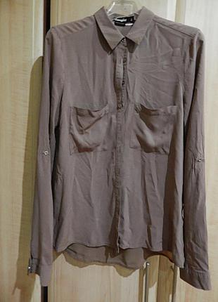 Блуза-рубашка серо-розового цвета
