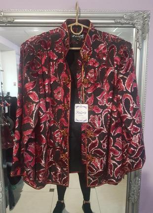 Крутой пиджак, жакет в китайском стиле - 15 - на 14, 16 р-р - шифон, бархат, глиттер