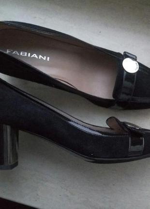 Туфли женские замшевые на толстом каблуке fabiani, офисные