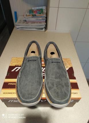 Мужские слипоны-туфли  skechers expected - avillo blue ( 43,44,45,46) оригинал7 фото