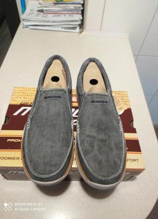 Мужские слипоны-туфли  skechers expected - avillo blue ( 43,44,45,46) оригинал5 фото