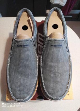 Мужские слипоны-туфли  skechers expected - avillo blue ( 43,44,45,46) оригинал4 фото