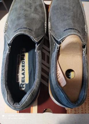 Мужские слипоны-туфли  skechers expected - avillo blue ( 43,44,45,46) оригинал6 фото
