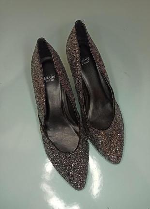 Новые глиттерные туфли на широкую ногу 42 размера