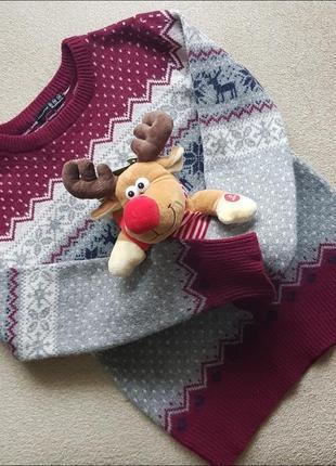 Шерстяний новорічний різдвяний светер кофта з оленями святкова джемпер на різдво новий рік