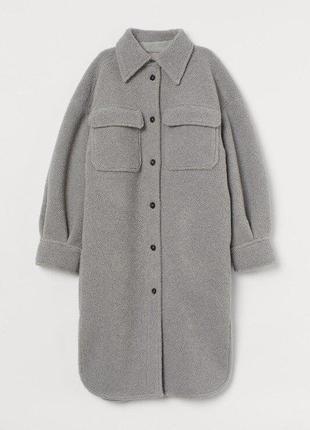 Пальто рубашка из овчины в стиле оверсайз h&m оригинал