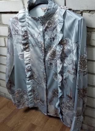 Блуза р.l given (голландия) рубашка женская голубая нарядная, замеры