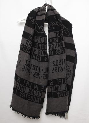 Diesel мужской большой шарф с надписями с принтом
