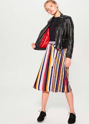 Нарядная полосатая юбка миди атласная разноцветная