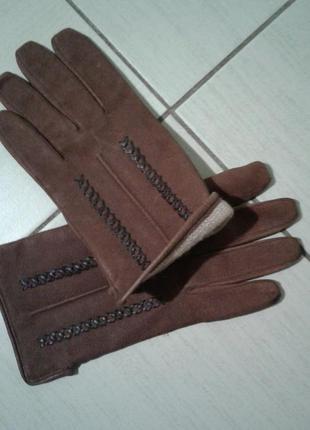 Кожаные утепленные перчатки