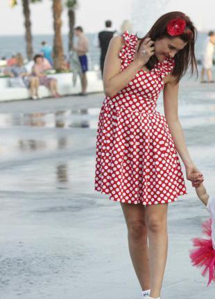 Платье сарафан красное а белый горох