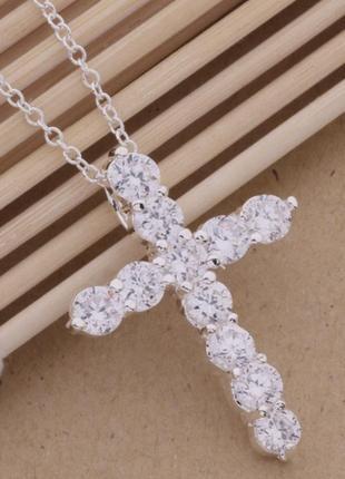 Цепочка с крестиком серебро s925