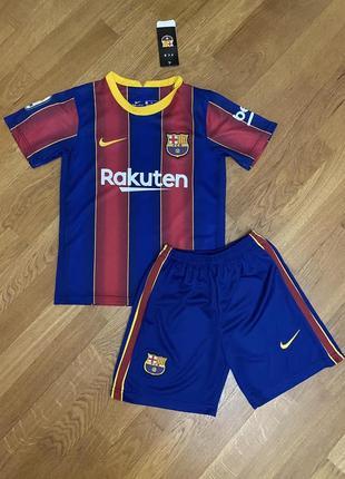Детская футбольная форма барселоны (основная) с печатью месси и №10, новый сезон 2020-2021