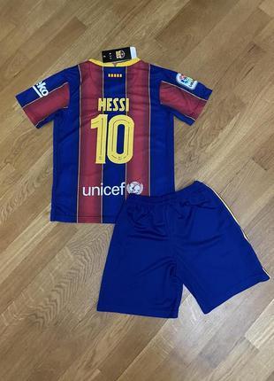 Детская футбольная форма барселоны (основная) с печатью месси и №10, новый сезон 2020-20212 фото