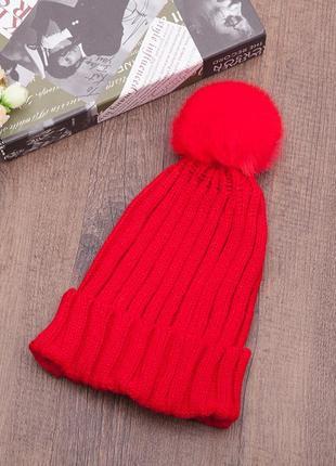 Яскрава в'язана шапка з помпоном 13232