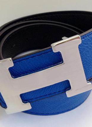 Ремень двухсторонний ярко синий hermes 4см стальная серебряная пряжка