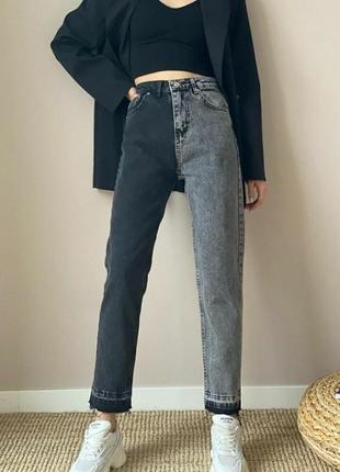 Двухцветные джинсы мом fit