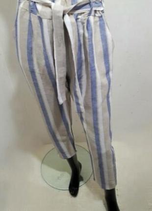 Стильные льняные легкие брюки мом s/m/l италия 🇮🇹 оригинал