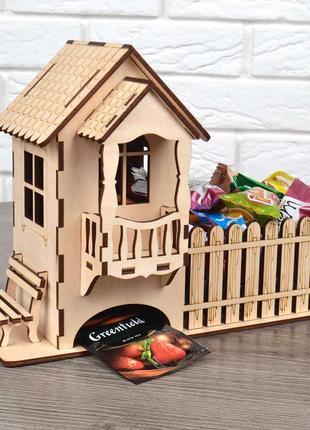 Лучший подарок чайный домик плюс конфетница конструктор деревянный 3d пазл