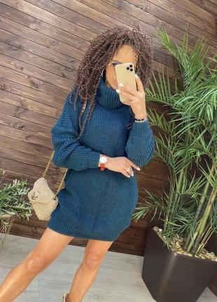 Вязанная туника , вязаное платье мини, зимняя туника