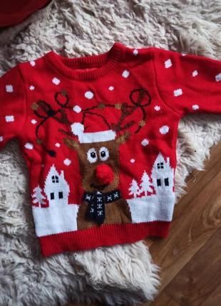 Красный новогодний классный наоядный свитер с оленем на мальчика или девочку 3-4 г 104 см