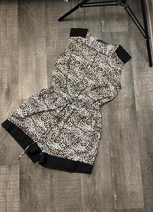 Женский леопардовый комбинезон с шортами atmosphere
