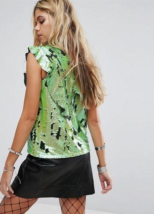 Блуза нарядная топ с высоким воротником рюшами и пайетками для  новогодней фотосессии