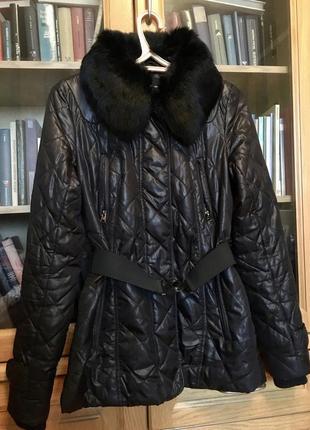 Куртка чёрная с натуральным мехом кролика