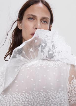 Zara новая шикарная нарядная блузка кружевная органза размер s xs