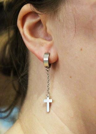 1шт крутые серьги крест рок готика кресты на кольце серебристый сталь