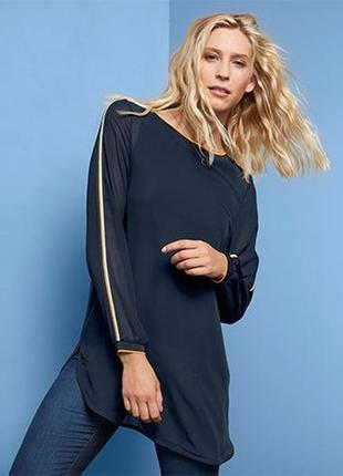 Шикарная шифоновая блуза туника l 44 евро тсм tchibo.