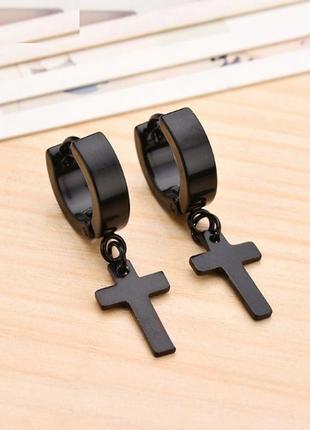 Крутые серьги крест рок готика кресты на кольце черный 2шт сталь