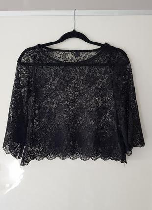 Кофточка блуза полупрозрачная гипюр кроп топ η&μ