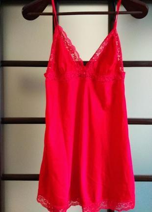 Ярко красная сатиновая ночная сорочка, ночнушка