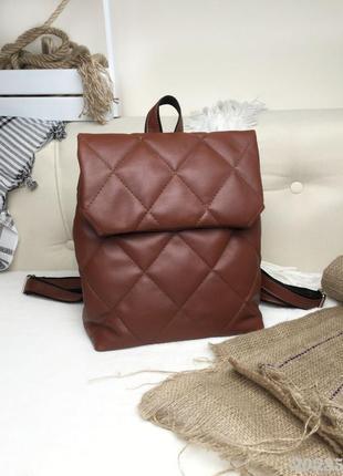 Стьобаний цегляний жіночий рюкзак, кирпичный стёганый рюкзак женский