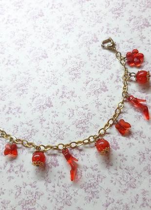 Браслет с подвесками красн кулон цепоч золот бижутерия туфл бабочк подвес