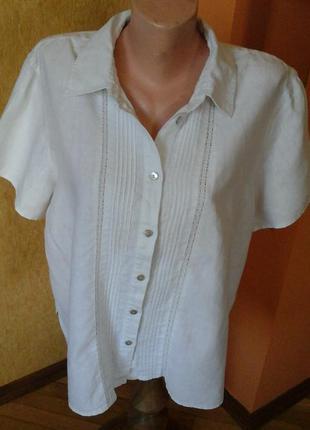 Белая льняная рубашка фирмы orvis